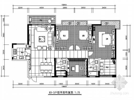 [广西]时尚中式风格四室两厅室内装修施工图(含效果)