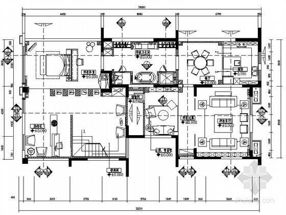[广东]知名装饰公司新中式办公室装修施工图(含效果)