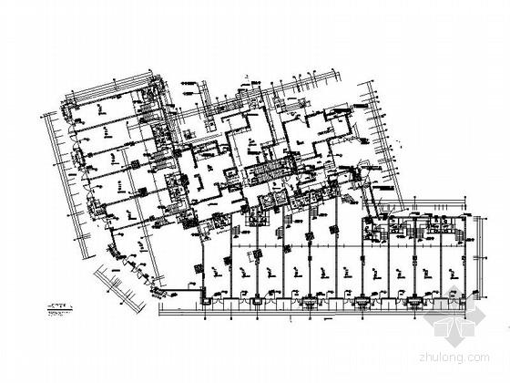 [四川]一级高层框架剪力墙结构塔式住宅楼建筑施工图(含两套方案)-一级高层框架剪力墙结构塔式住宅楼建筑首层平面图