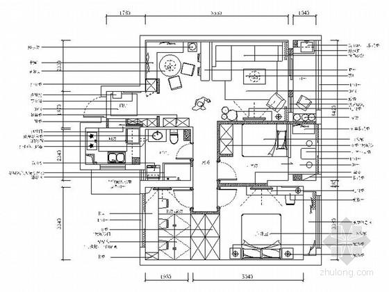 [浙江]温馨北欧风格三室两厅样板间室内装修施工图(含效果)