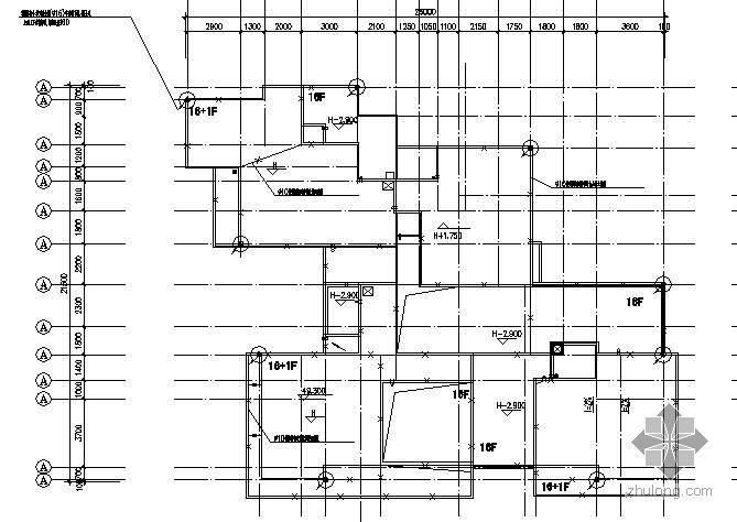 某高层建筑屋顶防雷与基础接地平面图