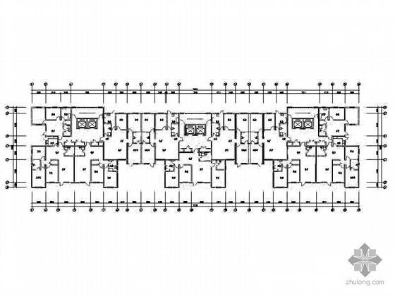塔式高层一梯三、一梯四北梯户型组合平面图