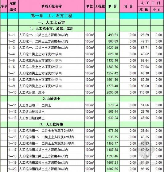 江西省2004土建工程预算定额(EXCEL)