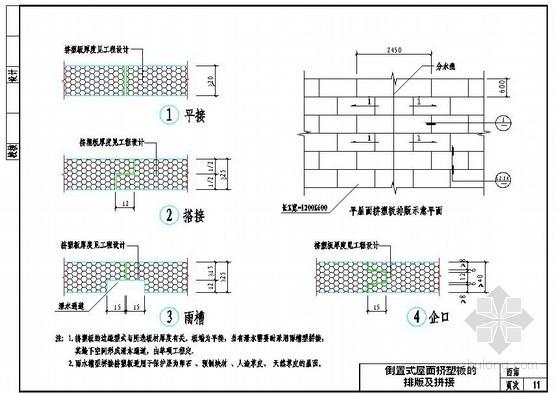 倒置式屋面挤塑板排版及拼接示意图