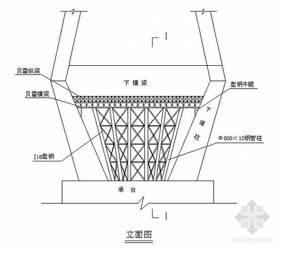 桥梁塔柱下横梁施工支架图