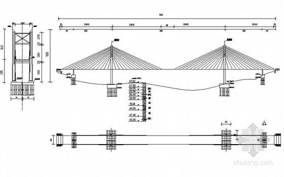 三跨(140+300+140)连续双塔钢箱梁斜拉桥设计全套(毕业设计)