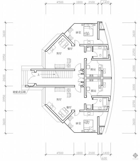 板式多层一梯两户一室一厅一卫户型图(79/79)