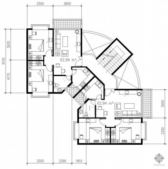 板式多层一梯二户转角型二室一厅户型图(63/63)