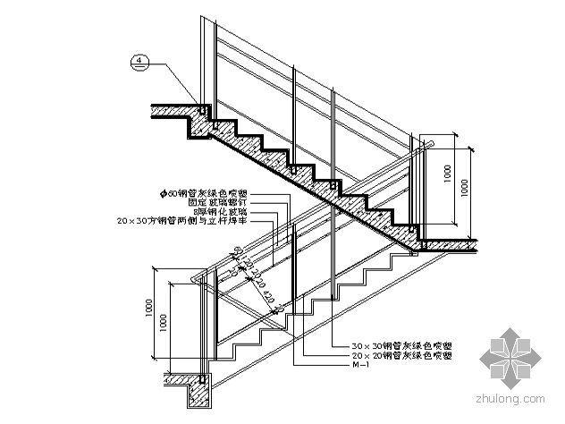 【图集】建筑细部构造cad精选图集-普通楼梯