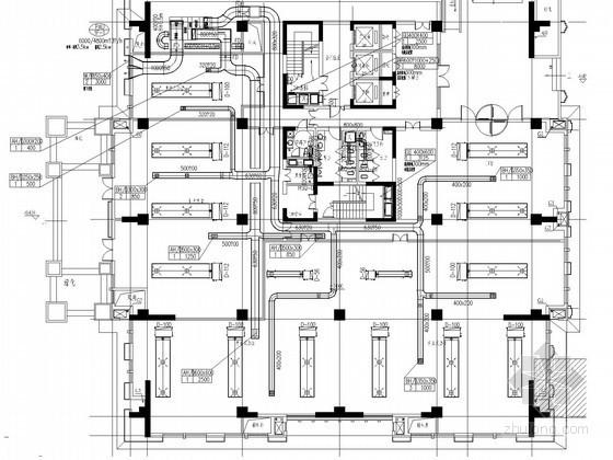 [山西]17栋商业建筑群空调通风排烟及采暖系统设计施工图(新风机房 新风负荷送风计算)