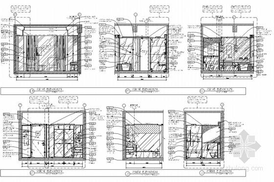 [湖南]中央商务区五星级商务酒店客房部分室内施工图 立面图