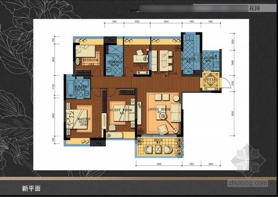 [广东]某东南亚风格花园小区样板间室内设计方案图