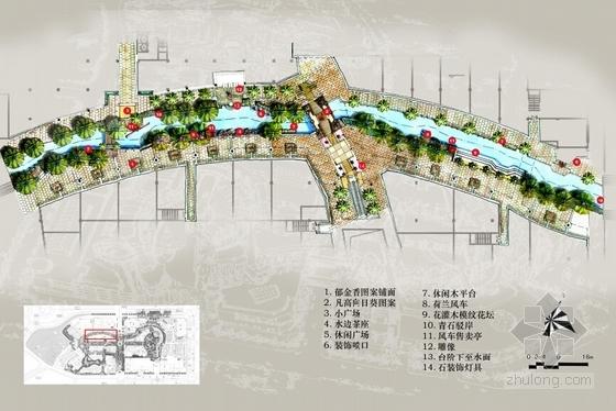 [广东]主题购物中心景观设计方案(超详细、全面)-分区平面图