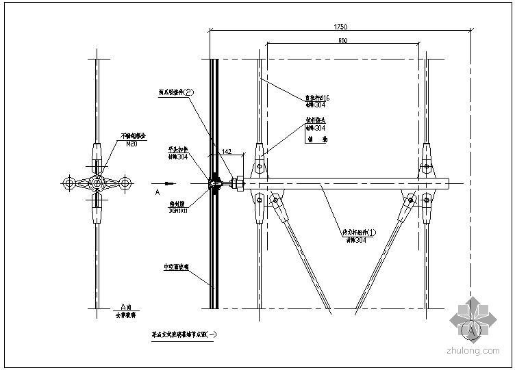 某点支式玻璃幕墙节点构造详图(一)