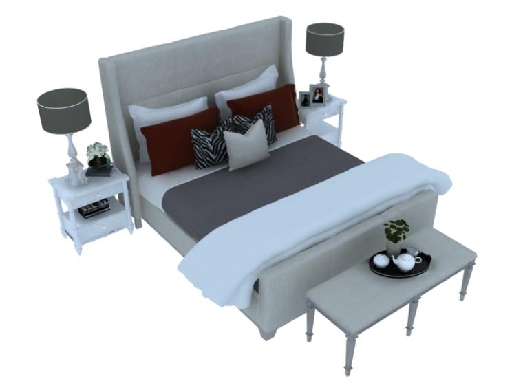 欧式大气双人床资料下载-欧式清新双人床3D模型下载