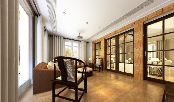 美式-复地爱伦坡别墅室内设计方案图(含效果图,施工图)-家庭房兼影音室效果图