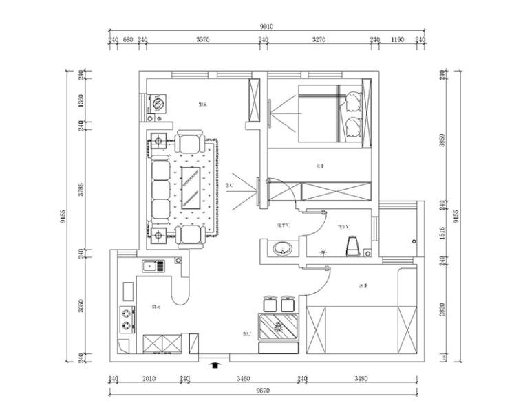 伟业中央公园95㎡平面设计效果图_5