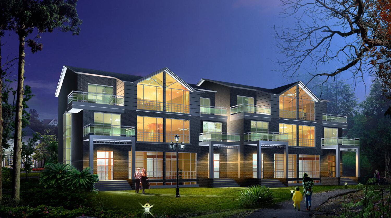 8个方案建筑设计别墅(包含cad效果图)别墅错临江v方案层图片