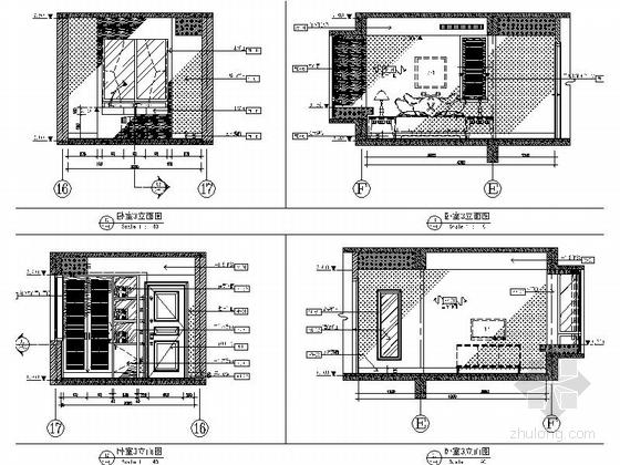 [武汉]主题公园生态区时尚现代三居室装修施工图(含效果实景图及手绘图)卧室立面图