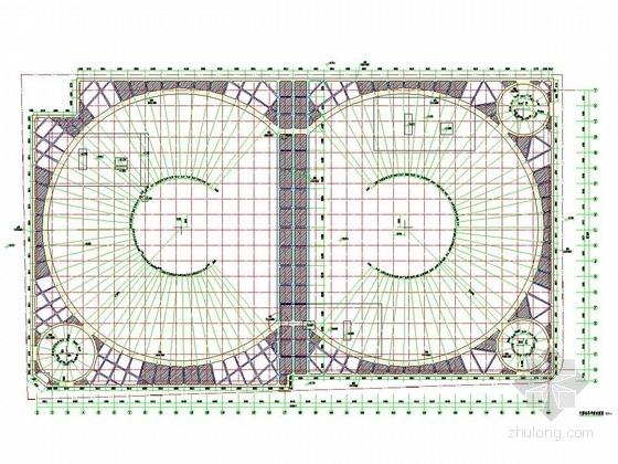 [天津]10米深基坑排桩加一道圆形内支撑支护施工图(双圆环支撑)
