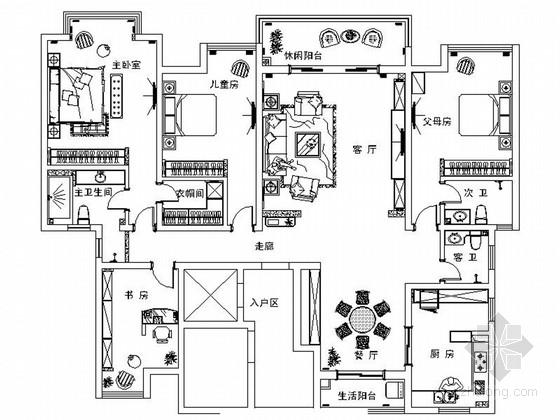 豪华大宅美式风格三居室装修室内设计施工图(含效果)