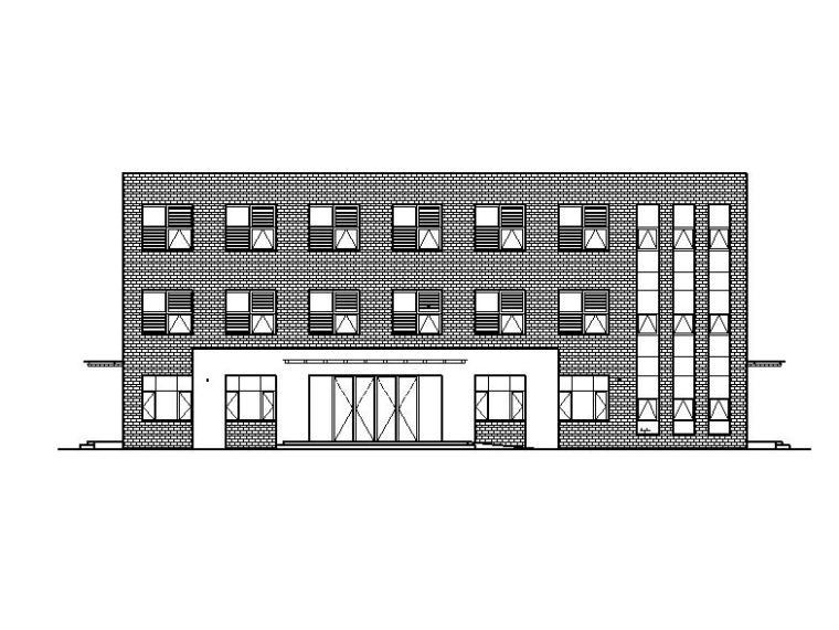 [宁夏]三层面砖外墙综合性办公楼施工图(含效果图及各专业图纸)