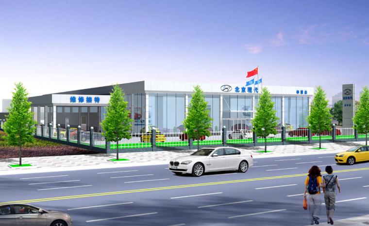 (原创)汽车4S店建筑外观设计案例效果图-4s店7