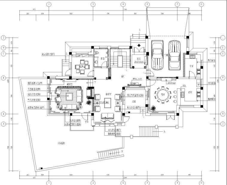 [郑州]欧式混搭风格双层别墅内部装修施工图设计(附效果图)
