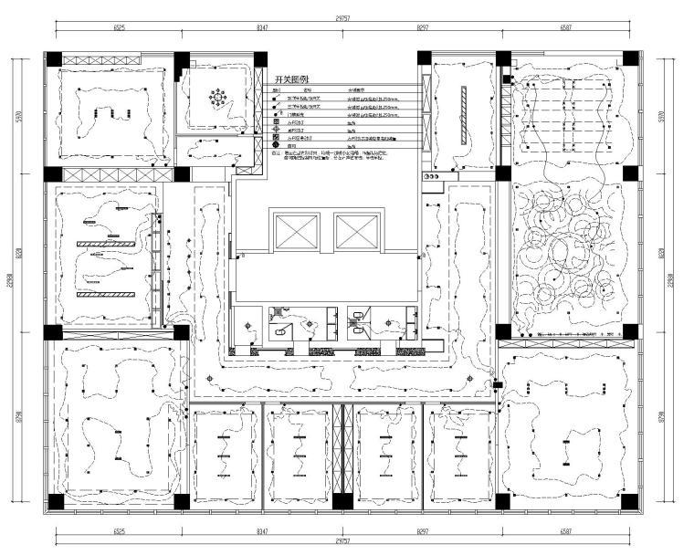 [山东]混搭--黄海城市花园七层办公平面装修施工图+效果图-照明线路控制图