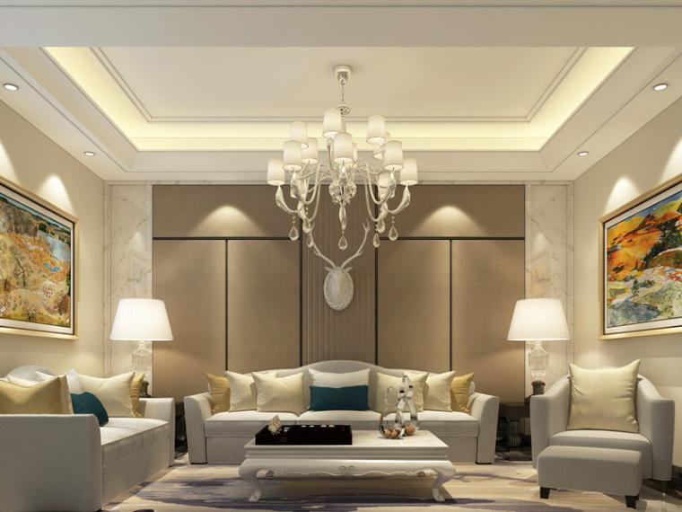 简约欧式客厅3D模型下载