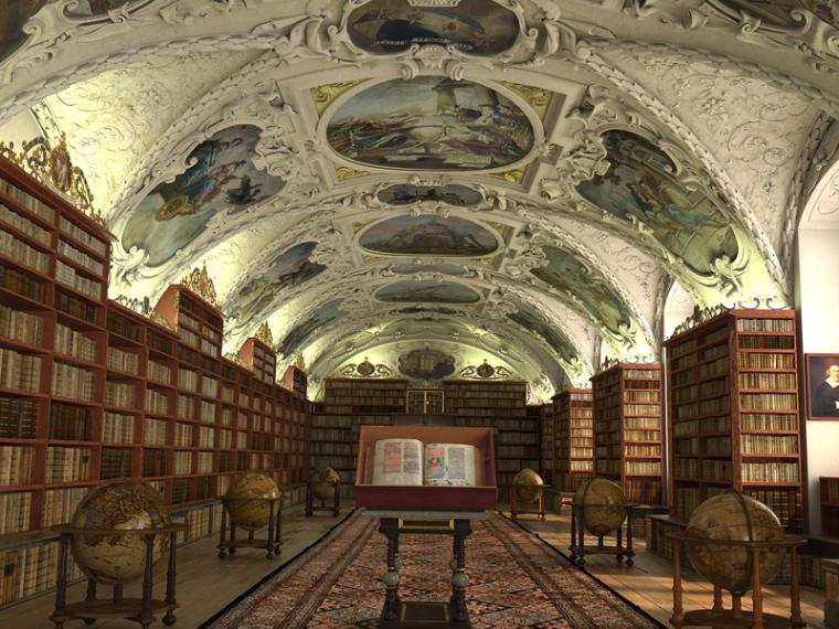 欧式图书馆3D模型下载_1