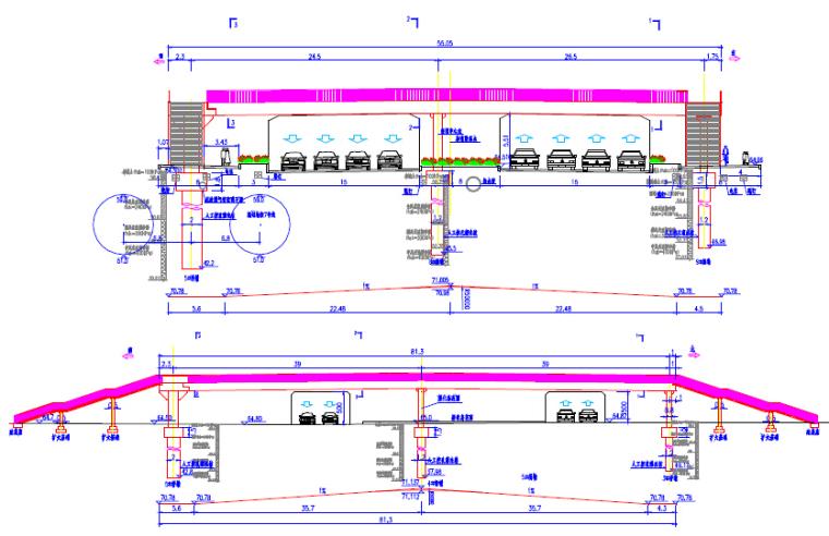 2017年设计不对称跨径39+39m带顶棚钢箱梁L型人行天桥设计图纸81页_2