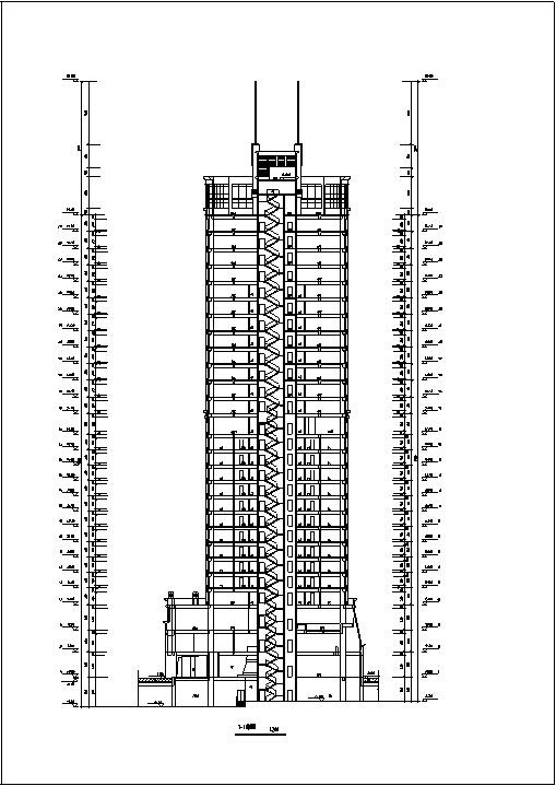 现代高层宾馆酒店建筑设计施工图CAD-现代高层建筑设计剖面图
