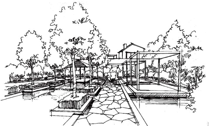 风景园林手绘线稿,可下载打印_6