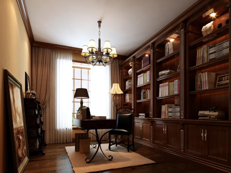 欧式书房模型资料下载-欧式安静书房3D模型下载