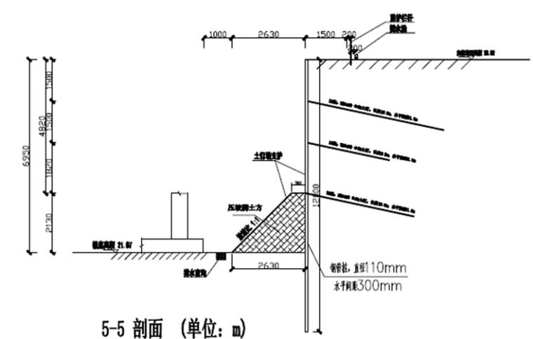 速递处理中心项目基坑土钉墙支护工程施工方案-钢管桩复合土钉墙典型剖面图