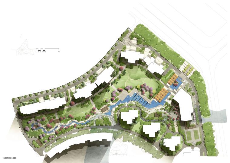 居住区规划设计彩平图PSD源文件分层素材