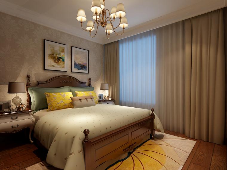 济南鲁能领秀公馆装修设计120平简约美式风格装修设计效果图