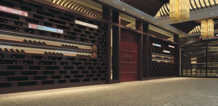 白云国际机场金龙美酒美食城改造项目施工图(含效果图)-宴会厅朱门效果图