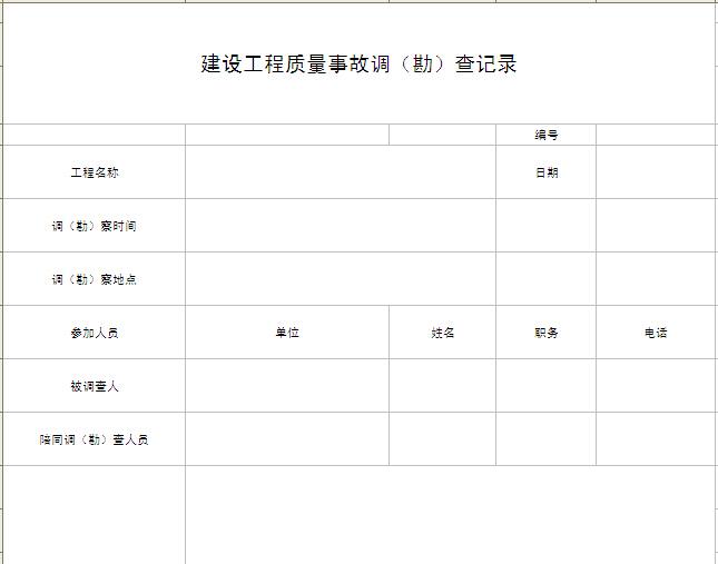 建设工程质量事故调(勘)查记录表