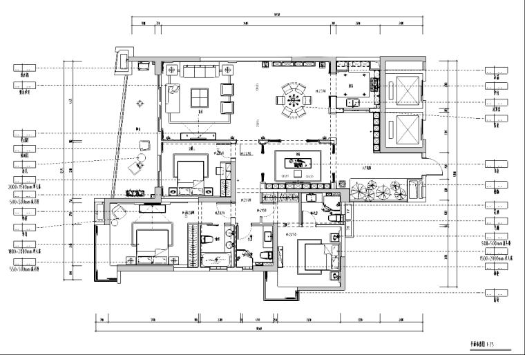 [广东]某中式风格样板房装修施工图及效果图