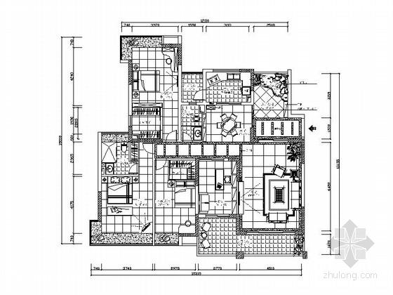 现代中式混搭风格三居室装修图(含效果图)