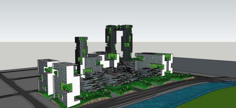 绿色建筑su模型(商业办公建筑)