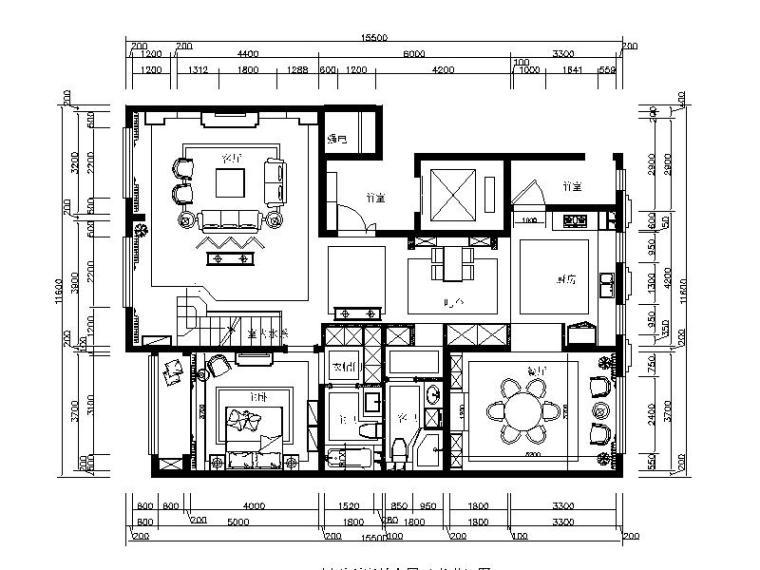 [北京]温馨新中式样板饭室内设计施工图(含效果图)