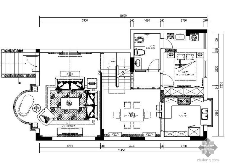 经典美式二层联排别墅室内装修图(含效果)