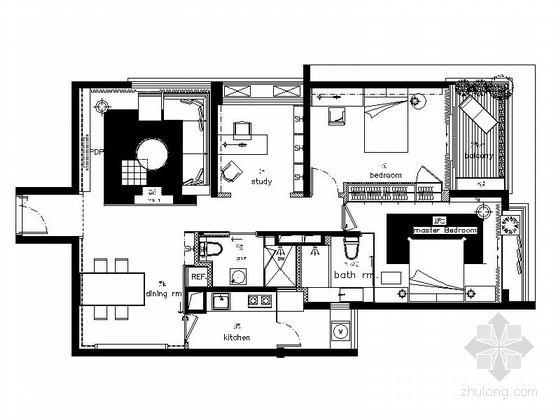 [安徽]温馨简洁文艺范小居室室内施工图(含效果图)