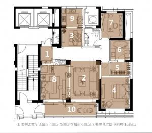 [江西]时尚典雅混搭风格三居室室内设计方案