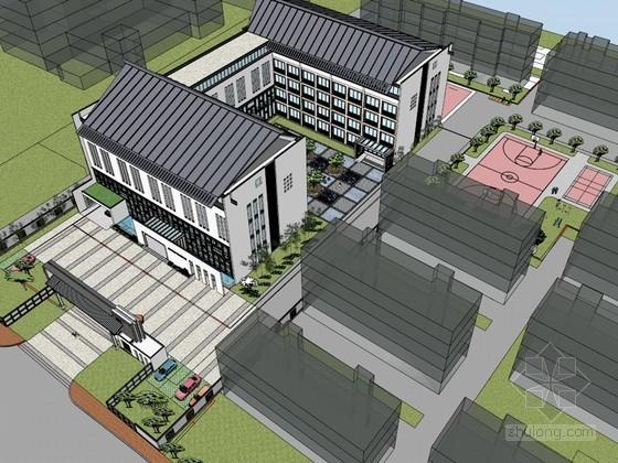 中式校园广场SketchUp模型下载