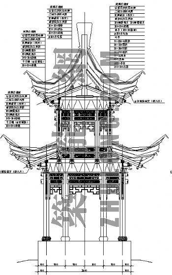 六八角亭木结构重檐