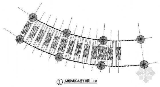 儿童游乐木桥平立面图